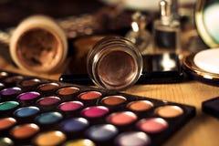 Female cosmetics. Eyeshadows with powder Royalty Free Stock Photos