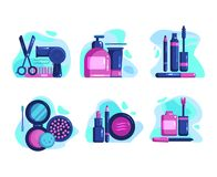 Female cosmetics for the face and hair royalty free illustration