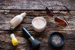 Female cosmetics on a wooden Royalty Free Stock Photo