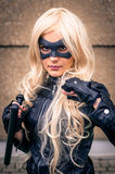 Female cosplayer dressed as 'Black Canary' from DC Comics Royalty Free Stock Image