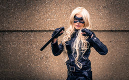 Female cosplayer dressed as 'Black Canary' from DC Comics Stock Photography