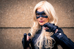 Female cosplayer dressed as 'Black Canary' from DC Comics Royalty Free Stock Images