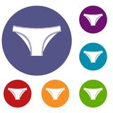 Female cotton panties icons set. In flat circle red, blue and green color for web Royalty Free Stock Image