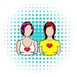 Female couple icon, comics style. Female couple icon in comics style on a white background Stock Images