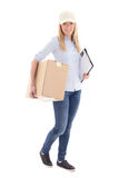 Female courier with carboard box isolated on white Royalty Free Stock Photos