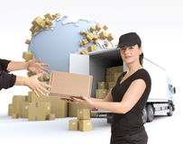 Female courier delivery Stock Image