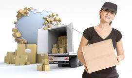 Female courier delivery Stock Photography