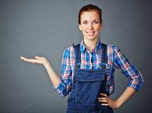 Female in coveralls Royalty Free Stock Photo