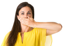 Female Covering Her mouth Stock Image