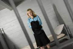 Female Criminal Behind Bars Royalty Free Stock Images