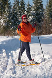 Female cross country skier in forest on a sunny da Stock Images