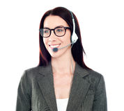 Female customer care operator looking away Royalty Free Stock Photography