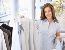 Female customer in clothes shop Stock Photography