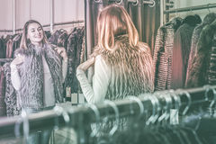 Female customer examining new fur vest Stock Photography