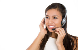 Female customer representative in hands free device, carefully listening a customer Stock Image