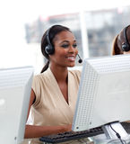Female Customer Service Agent In A Call Center Royalty Free Stock Photos