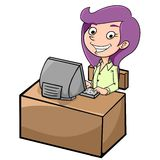 Female customer service. Illustration of a female customer who was working at the front computer Royalty Free Stock Image