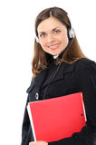 Female customer service representative. Young female customer service representative in headset  with a folder  On a white background Royalty Free Stock Photos