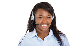 Female customer service representative with hands free device. Closeup portrait smiling adorable female customer representative business woman with phone headset Royalty Free Stock Image