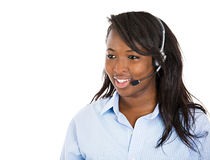 Female customer service representative with hands free device Royalty Free Stock Images