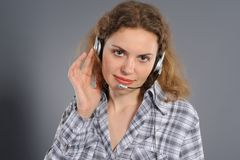 Female customer service representative in headse Stock Photography