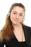 Female customer service representative in headset Royalty Free Stock Photo