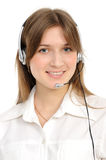 Female customer service representative in headset. Young female customer service representative in headset, smiling  on a white background Stock Images