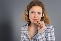 Female customer service representative in headset Stock Photo
