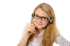 Female customer service representative in headset Stock Image