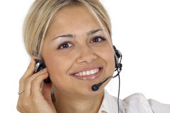 Female customer service representative smiling Stock Images