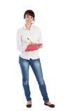 Female Customer Service Representative Smiling. Friendly female customer service representative smiling, isolated on white background Stock Images