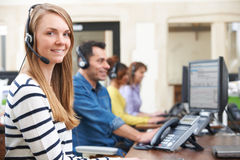 Female Customer Services Agent In Call Centre Stock Image