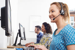 Female Customer Services Agent In Call Centre Royalty Free Stock Images