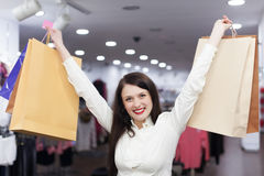 Female customer with shopping bags Stock Photo