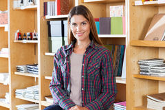 Female Customer Smiling In Book Store Stock Images