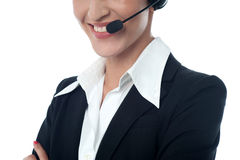 Female customer support executive, cropped image Royalty Free Stock Images