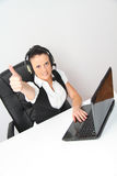 Female customer support operator with headset. Photo of the Female customer support operator with headset Royalty Free Stock Photos