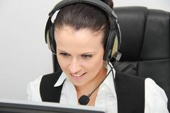 Female customer support operator with headset Royalty Free Stock Photography