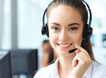 Female customer support operator with headset Royalty Free Stock Image