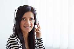 Female customer support phone operator Royalty Free Stock Images