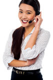 Female customer support staff at your service Stock Photo