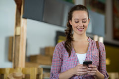 Female customer using mobile phone in grocery store Royalty Free Stock Photos