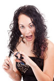 Female cutting herself Royalty Free Stock Photos