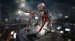 Female cyborg character royalty free stock image