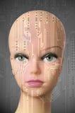Female cyborg head on dark gray background Stock Image