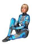 Female Cyborg on White Stock Photos