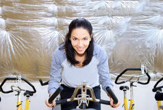 Female during cycling traning. Royalty Free Stock Photo