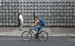 Female cyclist in Berlin Stock Image