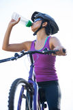 Female cyclist drinking water Stock Photos