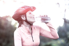 Female cyclist drinking water in forest Royalty Free Stock Images